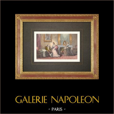 Französischen Revolution - Tuileries - Die Königin regt Ludwig XVI an (1792) | Original holzstich gestochen von Bellot. Handaquarelliert. 1860
