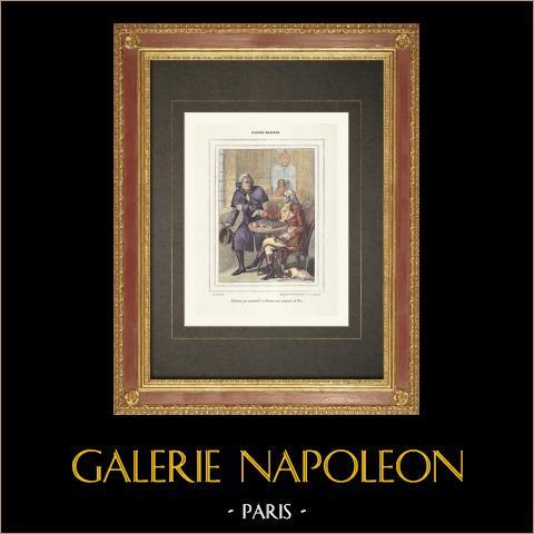 Französischen Revolution - Assignaten (1791) | Original holzstich gezeichnet von Rapine nach Massard. Handaquarelliert. 1860