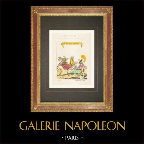 Französischen Revolution - Karikatur - Bailly, Paris Bürgermeister, und seine Frau (1791) | Original holzstich. Anonym. Handaquarelliert. 1860