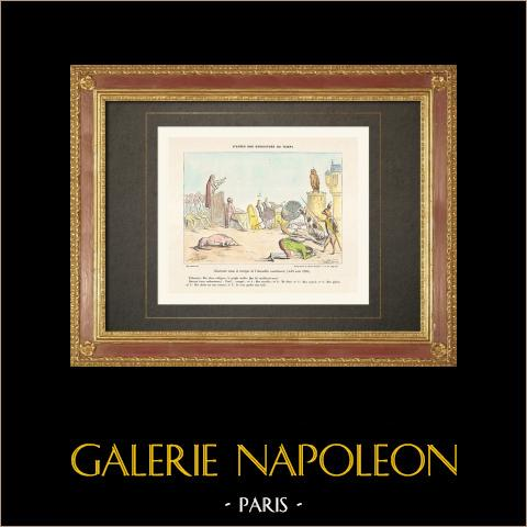 Französischen Revolution - Karikatur - Nationalversammlung - Abschaffung von Privilegien (1789) | Original holzstich gezeichnet und gestochen von Rapine. Handaquarelliert. 1860