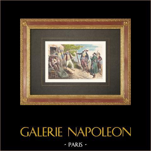 Französischen Revolution - Plünderung von Rappes Haus - Charles-Alexis Alexandre | Original holzstich gezeichnet von Bayard. Handaquarelliert. 1860