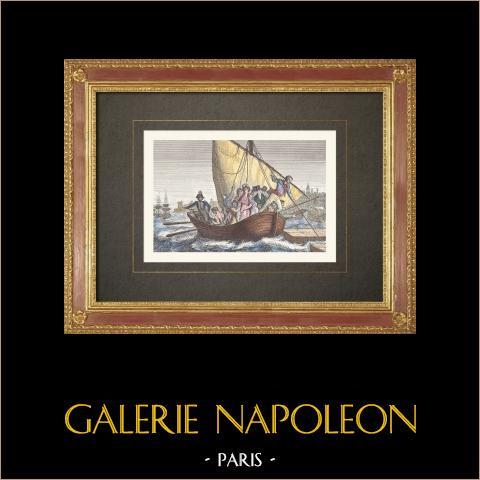 Französischen Revolution - Ankunft in Frankreich von Napoleon Bonaparte und seiner Familie (1778) | Original holzstich gezeichnet von Collette nach Mauzaise. Handaquarelliert. 1860