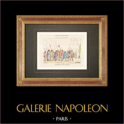 Französische Revolution - Revolutionäre - Karikatur - Plünderung (1792) | Original holzstich. Anonym. Handaquarelliert. 1860