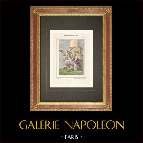 Rivoluzione Francese - Allegoria - Angelo - Buonaparte (1799) | Incisione xilografica originale incisa da Rapine. Acquerellata a mano. 1860