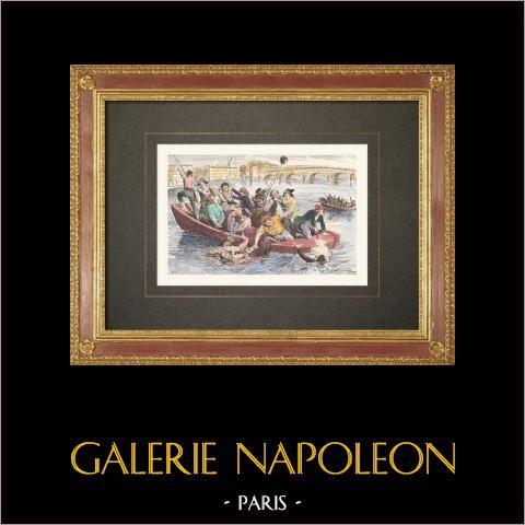 Französischen Revolution - Revolutionäre Massaker auf der Burg Tarascon (1795) | Original holzstich gezeichnet von Bayard. Handaquarelliert. 1860