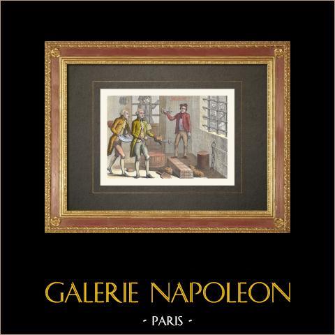 Französischen Revolution - Jouve Jourdan - Massacre de la Glacière - Papstpalast (1792) | Original holzstich gestochen von Rapine. Handaquarelliert. 1860