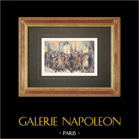 Französischen Revolution - Sektionen der Stadt Paris (1790) | Original holzstich. Anonym. Handaquarelliert. 1860
