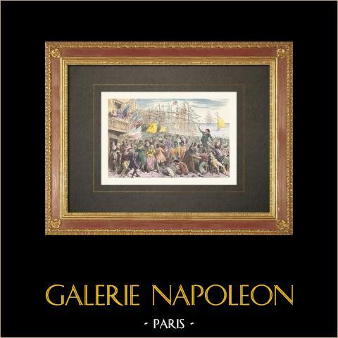 Französischen Revolution - Party in Marseille (Frankreich) | Original holzstich gezeichnet von Bayard. Handaquarelliert. 1860