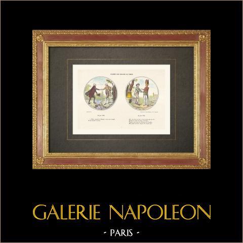 Französischen Revolution - 47 Abgeordneten des Adels versammeln den Dritten Stand (1789) | Original holzstich gezeichnet und gestochen von Rapine. Handaquarelliert. 1860