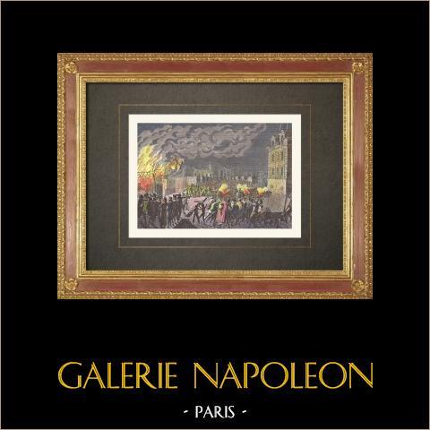 Französischen Revolution - Brand des Wachhaus auf dem Pont Neuf in Paris (1788) | Original holzstich nach Girardet. Handaquarelliert. 1860