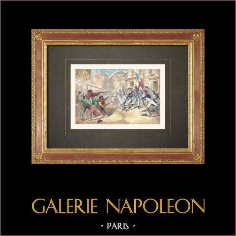 Französischen Revolution - Royalistischer Aufstand in Paris (1795) | Original holzstich. Anonym. Handaquarelliert. 1860