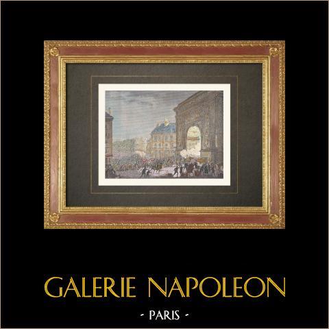 Französischen Revolution - Patriotes an der Porte Saint-Denis Paris (Nacht 14.-15. Juli 1789) | Original holzstich nach Prieur. Handaquarelliert. 1860
