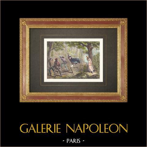 Französische Revolution - Heroismus des Soldaten Louis Gillet in einem Wald bei Autun (Frankreich) | Original holzstich gestochen von Kreutzberger. Handaquarelliert. 1860