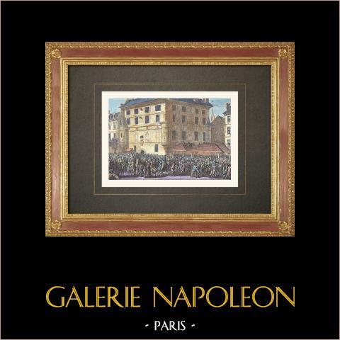 Französischen Revolution - Das Volk liefert die Garde - Prison de l'Abbaye (1789) | Original holzstich nach Prieur. Handaquarelliert. 1860