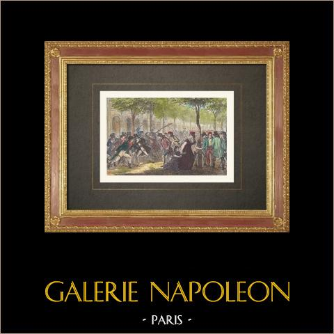 Französischen Revolution - Reichen jungen Leuten und Republikanern - Palais-Royal (1794) | Original holzstich gestochen von Comte. Handaquarelliert. 1860