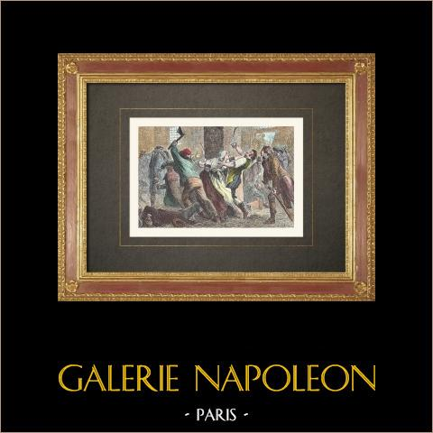 Französischen Revolution - Massaker in Aix-en-Provence (Dezember 1790) | Original holzstich gestochen von Sabail. Handaquarelliert. 1860