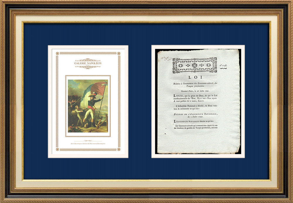 Décret - Louis XVI - 1791 - Avancement des Lieutenants-colonels des Troupes provinciales | Le Général Augereau au Pont d'Arcole (Charles Thévenin) | Décret N°1148 de l'Assemblée Nationale avec vignette gravée sur bois du 2 Juillet 1791. Document original imprimé sur papier vergé filigrané par de PIVRON à Le Mans en 1791.