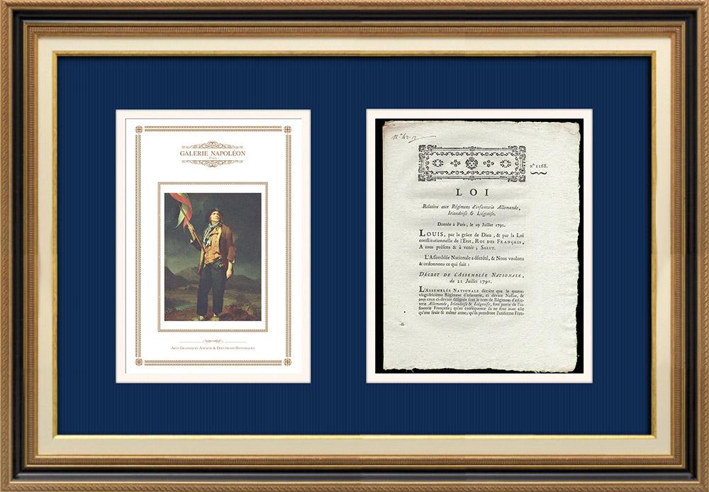 Décret - Louis XVI - 1791 - Infanterie Allemande, Irlandaise et Liégeoise fait partie de l'Infanterie Française | Portrait du chanteur Simon Chenard en costume de sans-culotte (Louis Léopold Boilly) | Décret N°1168 de l'Assemblée Nationale avec vignette gravée sur bois du 21 Juillet 1791. Document original imprimé sur papier vergé filigrané par de PIVRON à Le Mans en 1791.