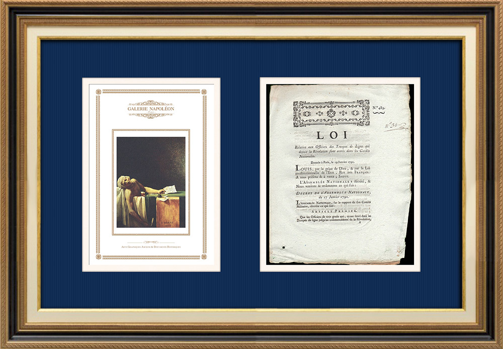 Décret - Louis XVI - 1791 - Officiers de la Garde Nationale | La Mort de Marat (Jacques-Louis David) | Décret N°489 de l'Assemblée Nationale avec vignette gravée sur bois du 17 Janvier 1791. Document original imprimé sur papier vergé filigrané par de PIVRON à Le Mans en 1791.
