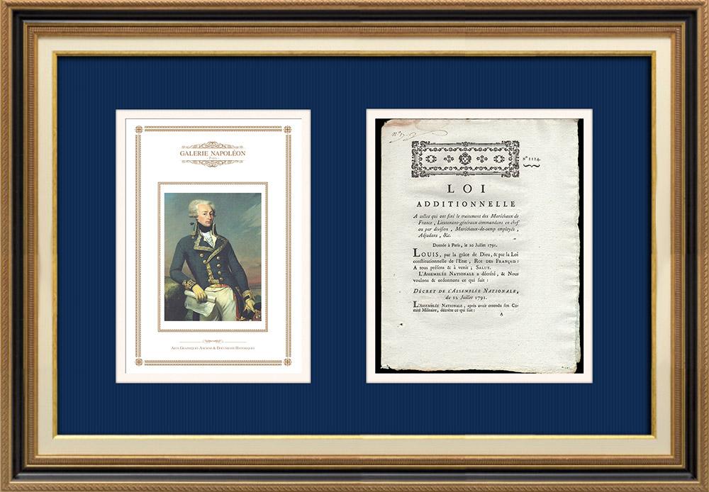 Décret - Louis XVI - 1791 - Traitement des Maréchaux de France   Portrait de Gilbert du Motier de La Fayette (Joseph-Désiré Court)   Décret N°1114 de l'Assemblée Nationale avec vignette gravée sur bois du 12 Juillet 1791. Document original imprimé sur papier vergé filigrané par de PIVRON à Le Mans en 1791.