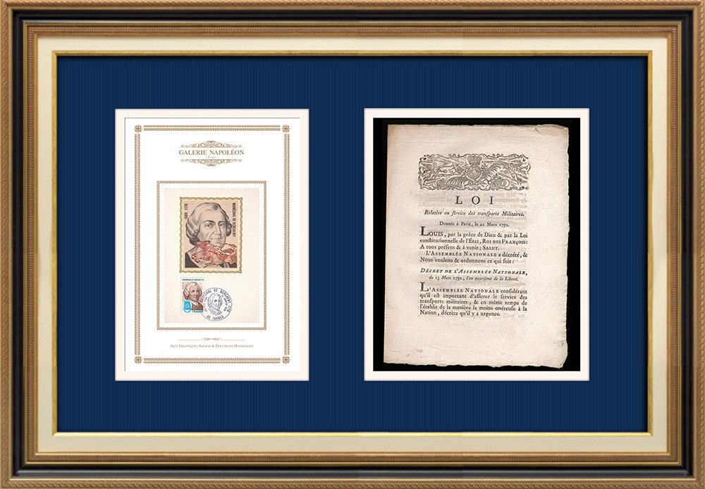 Décret - Révolution Française - 1792 - Transports militaires | Portrait de Ladislas Ignace de Bercheny (1689-1778) | Décret de l'Assemblée Nationale avec vignette gravée sur bois du 13 Mars 1792, l'An 4 de la Liberté. Document original imprimé sur papier vergé filigrané par G. JOUBERT à Coutances en 1792.