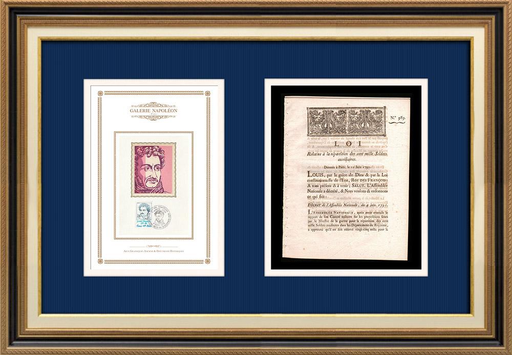 Décret - Louis XVI - 1791 - Soldats auxiliaires | Portrait de Pierre Daumesnil (1776-1832) | Décret N°989 de l'Assemblée Nationale avec vignette gravée sur bois du 4 Juin 1791. Document original imprimé sur papier vergé filigrané par IMPRIMERIE ROYALE à Paris en 1791.