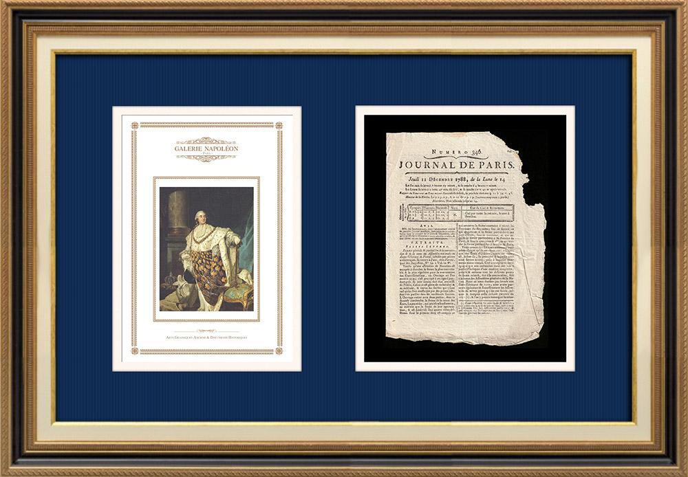 Luigi XVI di Francia - Journal de Paris - Giovedì, 11 Dicembre 1788   Ritratto di Luigi XVI di Francia (Joseph Siffred Duplessis)   Journal de Paris N°346, giornale del Giovedì, 11 Dicembre 1788. Documento originale stampato su carta vergata filigranata da l'Imprimerie de Quillau, Rue du Fouarre a Parigi nel 1788.