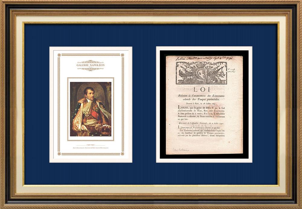 Décret - Louis XVI - 1791 - Avancement des Lieutenants-colonels des troupes provinciales   Portrait de Napoléon Bonaparte (Andrea Appiani)   Décret N°1148 de l'Assemblée Nationale avec vignette gravée sur bois du 2 Juillet 1791. Document original imprimé sur papier vergé filigrané par IMPRIMERIE ROYALE à Paris en 1791.