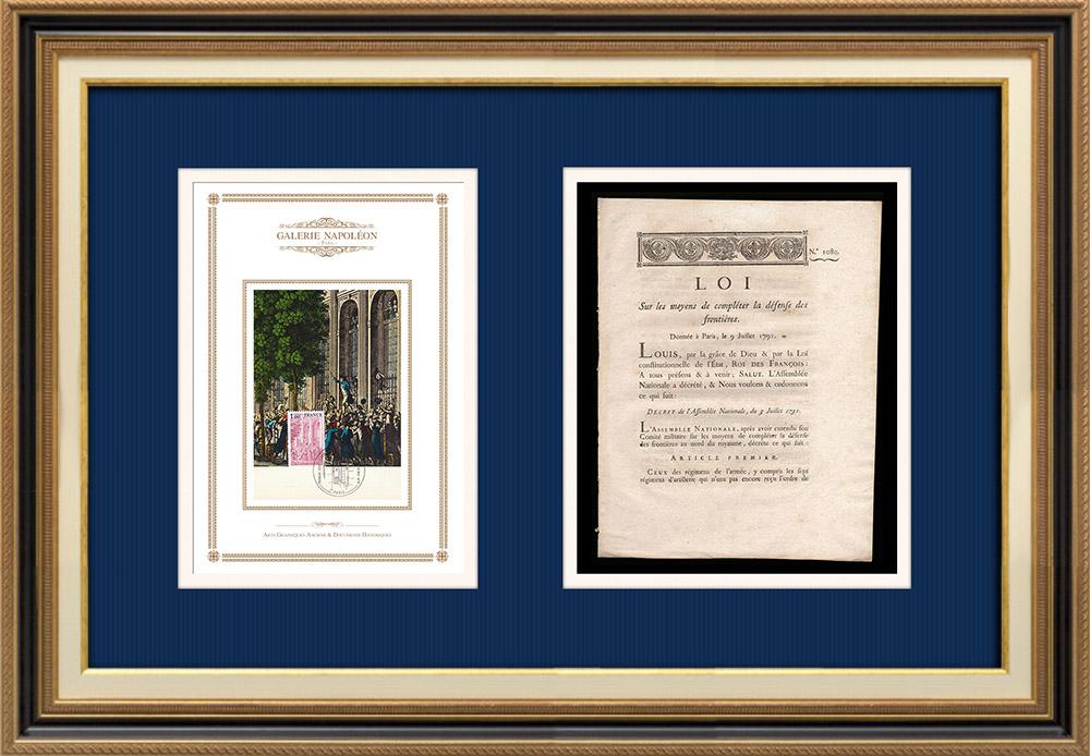 Décret - Louis XVI - 1791 - Défense des frontières | Discours de Camille Desmoulins au Palais Royal (12 juillet 1789) | Décret N°1080 de l'Assemblée Nationale avec vignette gravée sur bois du 3 Juillet 1791. Document original imprimé sur papier vergé filigrané par IMPRIMERIE ROYALE à Paris en 1791.