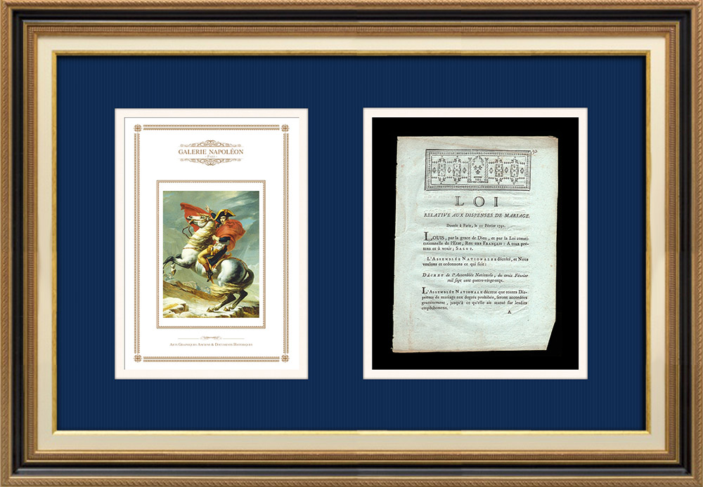 Decree - Louis XVI of France - 1791 - Marriage waivers   Napoleon at the Saint-Bernard Pass (Jacques-Louis David)   Decree of the National Assembly with a large woodcut vignette dated 3 Février 1791. Original document printed on watermarked laid paper by LE BOULLENGER at Rouen in 1791.