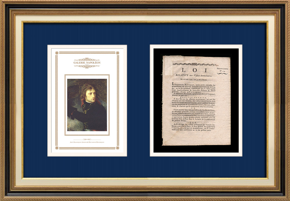 Décret - Révolution Française - 1792 - Visites domiciliaires | Portrait de Napoléon Bonaparte au Pont d'Arcole (Antoine-Jean Gros) | Décret N°219 de l'Assemblée Nationale du 28 Août 1792, l'An 4 de la Liberté. Document original imprimé sur papier vergé filigrané par OURSEL à Rouen en 1792.