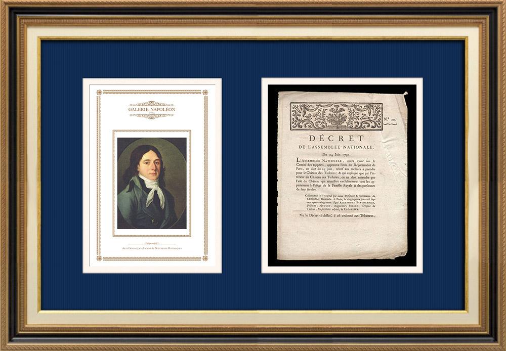 Décret - Louis XVI - 1791 - Château des Tuileries | Portrait de Camille Desmoulins (1760-1794) | Décret N°20 de l'Assemblée Nationale avec vignette gravée sur bois du 24 Juin 1791. Document original imprimé sur papier vergé filigrané par IMPRIMERIE ROYALE à Paris en 1791.