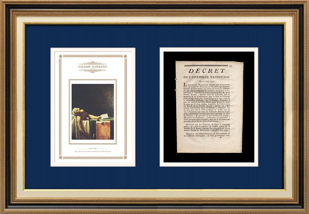 Décret - Louis XVI - 1791 - Fuite de Varennes | La Mort de Marat (Jacques-Louis David) | Décret N°227 de l'Assemblée Nationale du 21 Juin 1791. Document original imprimé sur papier vergé filigrané par OURSEL à Rouen en 1791.