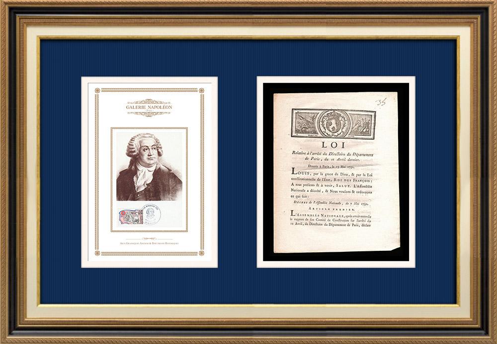 Décret - Louis XVI - 1791 - Eglises et chapelles de la ville de Paris   Portrait de Honoré-Gabriel Riqueti de Mirabeau (1749-1791)   Décret de l'Assemblée Nationale avec vignette gravée sur bois du 7 Mai 1791. Document original imprimé sur papier vergé filigrané par AIMÉ de la ROCHE à Lyon en 1791.