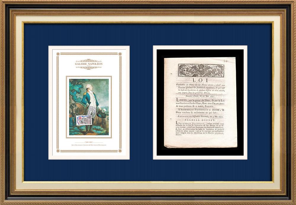 Décret - Louis XVI - 1791 - Receveurs généraux des Finances et des Impositions | Portrait de Gilbert du Motier de La Fayette (1757-1834) | Décret de l'Assemblée Nationale avec vignette gravée sur bois du 4 Mai 1791. Document original imprimé sur papier vergé filigrané par AIMÉ de la ROCHE à Lyon en 1791.