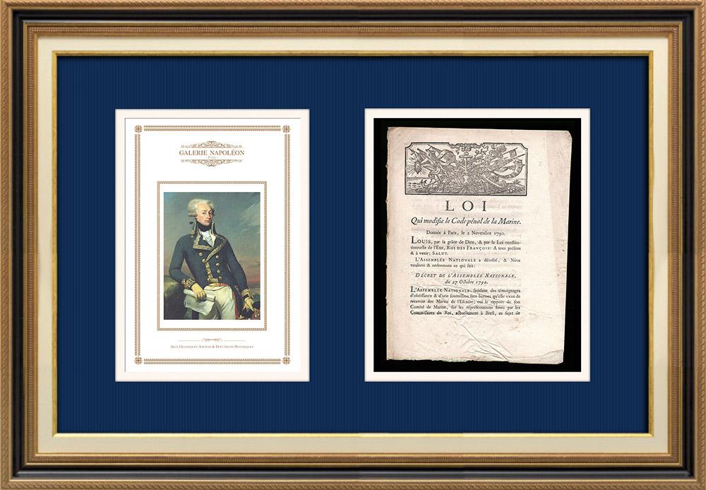 Décret - Louis XVI - 1790 - Modification du Code pénal de la Marine   Portrait de Gilbert du Motier de La Fayette (Joseph-Désiré Court)   Décret de l'Assemblée Nationale de l'année 1790 avec vignette gravée sur bois. Document original imprimé sur papier vergé filigrané par IMPRIMERIE ROYALE à Paris en 1790.