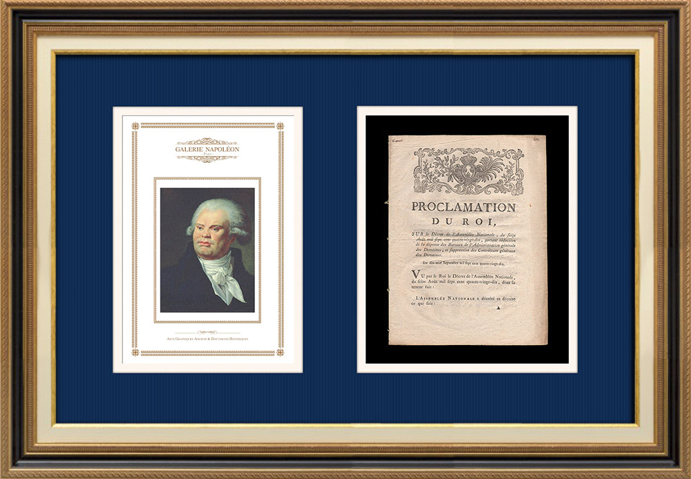 Proclamation of the King - Louis XVI of France - 1790 - Goods of the nation | Portrait of Georges Danton (Constance-Marie Charpentier) | Proclamation of the King Louis XVI of France of the year 1790 with a large woodcut vignette. Original document printed on watermarked laid paper by LE BOULLENGER at Rouen in 1790.
