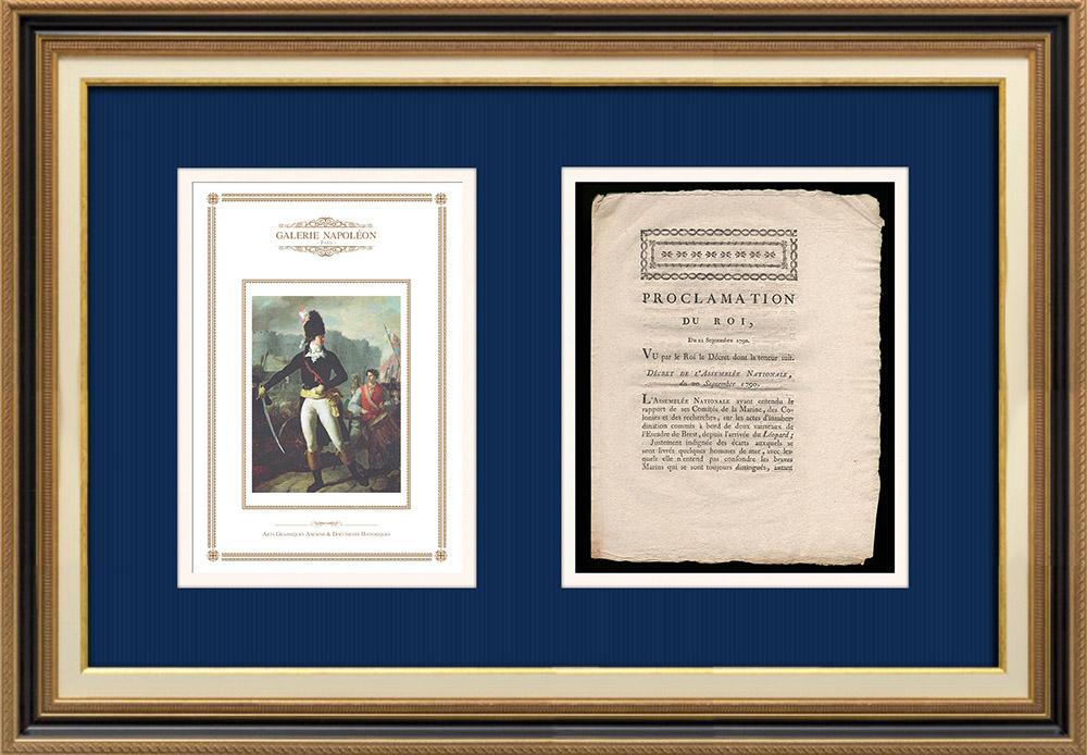 Proclamation du Roi - Louis XVI - 1790 - Désordres dans le port de Brest   Un Gagnant de la Bastille (Charles Thevenin)   Proclamation du Roi Louis XVI avec vignette gravée sur bois du 20 Septembre 1790. Document original imprimé sur papier vergé filigrané par J. ROBIQUET à Rennes en 1790.