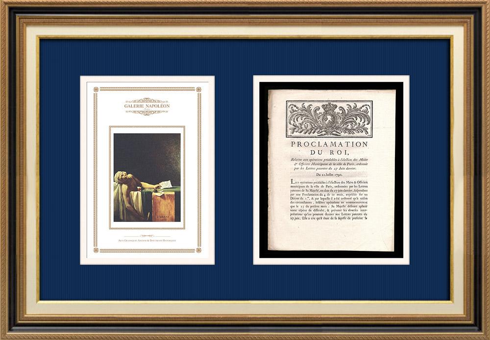 Proclamation du Roi - Louis XVI - 1790 - Election du Maire de Paris | La Mort de Marat (Jacques-Louis David) | Proclamation du Roi Louis XVI de l'année 1790 avec vignette gravée sur bois. Document original imprimé sur papier vergé filigrané par IMPRIMERIE ROYALE à Paris en 1790.