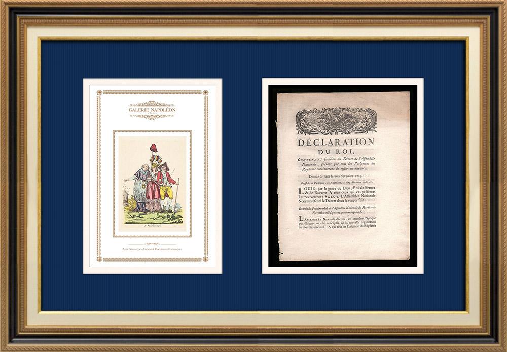 Déclaration du Roi - Louis XVI - 1789 - Vacance des Parlements du Royaume | Caricature de la Révolution Française - Le Voeux Accompli | Déclaration du Roi Louis XVI de l'année 1789 avec vignette gravée sur bois. Document original imprimé sur papier vergé filigrané par NYON à Paris en 1789.