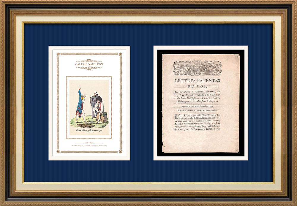 Letters patent of the King - Louis XVI of France - 1789 - Conservation of Church Property | Caricature of the French Revolution | Letters patent of the King Louis XVI of France of the year 1789 with a large woodcut vignette. Original document printed on watermarked laid paper by NYON at Paris in 1789.