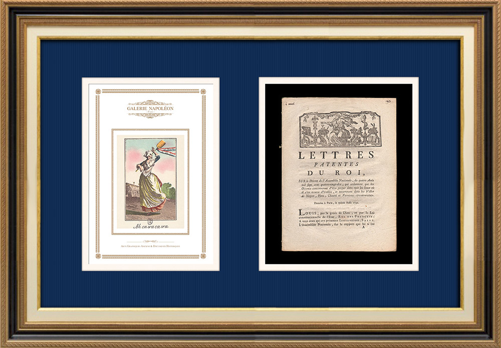 Letters patent of the King - Louis XVI of France - 1790 - Retention of taxes (Octroi)   Caricature of the French Revolution - Ah ça ira ça ira   Letters patent of the King Louis XVI of France of the year 1790 with a large woodcut vignette. Original document printed on watermarked laid paper by LE BOULLENGER at Rouen in 1790.
