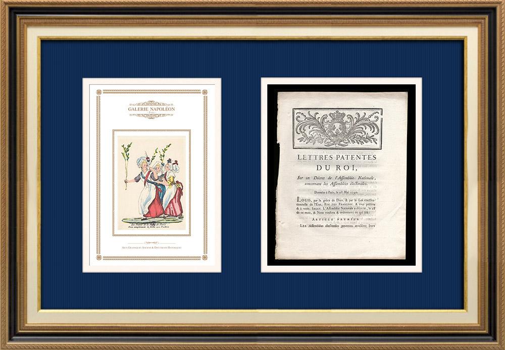 Lettre patente du Roi - Louis XVI - 1790 - Assemblées électorales | Caricature de la Révolution Française | Lettre patente du Roi Louis XVI de l'année 1790 avec vignette gravée sur bois. Document original imprimé sur papier vergé filigrané par IMPRIMERIE ROYALE à Paris en 1790.