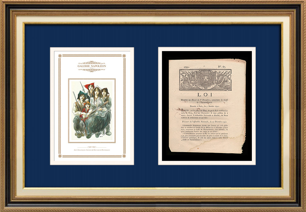Décret - Louis XVI - 1790 - Caisse de l'Extraordinaire   Révolution Française - Enfant du peuple   Décret N°67 de l'Assemblée Nationale avec vignette gravée sur bois du 27 Décembre 1790. Document original imprimé sur papier vergé filigrané par DE CAPEL à Dijon en 1790.