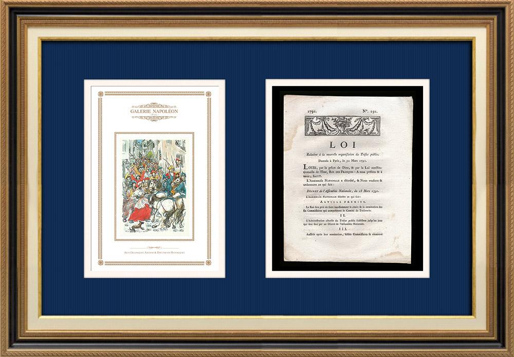 Décret - Louis XVI - 1791 - Nouvelle Organisation du Trésor public | Révolution Française - Bataille de rue | Décret N°291 avec vignette gravée sur bois du 18 Mars 1791. Document original imprimé sur papier vergé filigrané par DE CAPEL à Dijon en 1791.