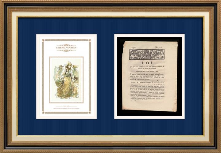 Décret - Louis XVI - 1791 - Brevets de Retenue | Révolution Française - Porteuse d'eau