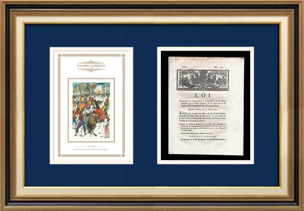 Décret - Louis XVI - 1791 - Comptabilité de la Ferme générale et de la Régie générale | Révolution Française - Attaque de la Bastille | Décret N°313 de l'Assemblée Nationale avec vignette gravée sur bois du 31 Mars 1791. Document original imprimé sur papier vergé filigrané par CAPEL à Dijon en 1791.