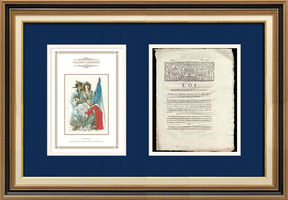 Décret - Révolution Française - 1792 - Caisse de l'Extraordinaire ouvrira le remboursement de l'emprunt | Révolution Française - Couple au chapeau | Décret N°757 de l'Assemblée Nationale avec vignette gravée sur bois du 6 Août 1792, l'An 4 de la Liberté. Document original imprimé sur papier vergé filigrané par CAPEL à Dijon en 1792.