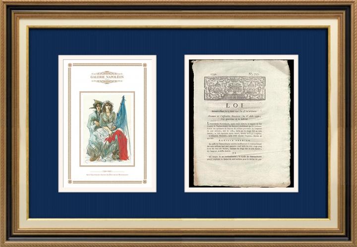 Décret - Révolution Française - 1792 - Caisse de l'Extraordinaire ouvrira le remboursement de l'emprunt | Révolution Française - Couple au chapeau