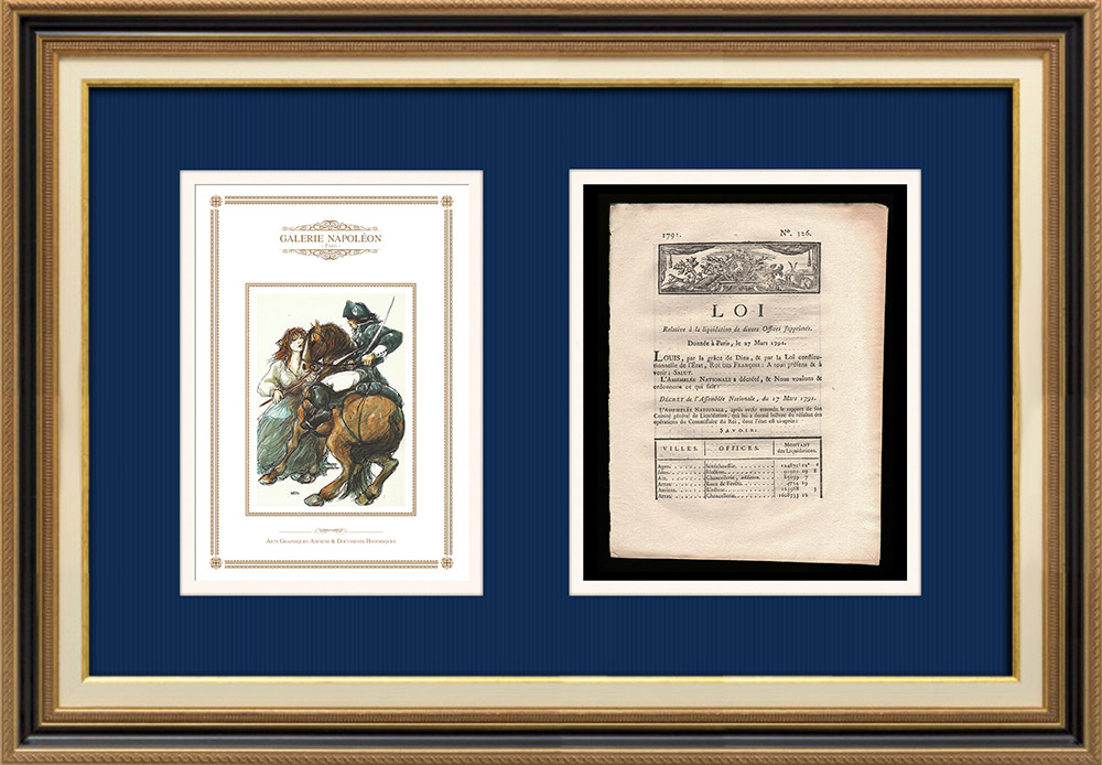Décret - Louis XVI - 1791 - Liquidation de divers offices supprimés | Révolution Française - Attaque d'un cavalier du roi | Décret N°326 de l'Assemblée Nationale avec vignette gravée sur bois du 17 Mars 1791. Document original imprimé sur papier vergé filigrané par CAPEL à Dijon en 1791.